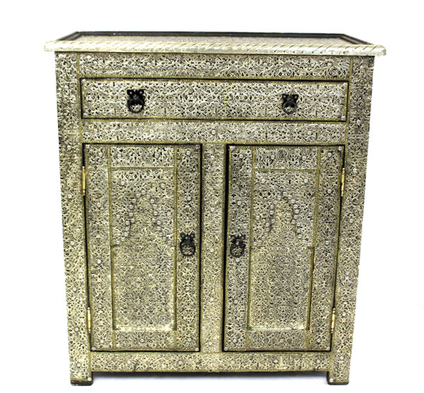 moroccan cabinet, moroccan armoire, moroccan home decor, metal furniture, large cabinet, tv cabinet, moroccan tv cabinet, moroccan sideboard, high-end furniture, luxe furniture, metal furniture, silver furniture, moroccan dresser, moroccan nightstand, moroccan cupboard, silver cupboard, silver dresser, wardrobe