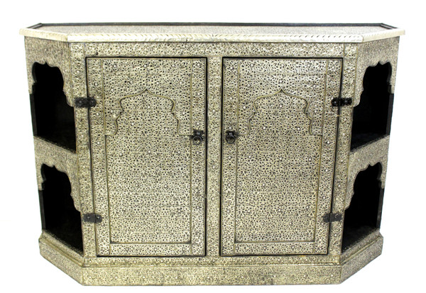 moroccan cabinet, moroccan armoire, moroccan home decor, metal furniture, large cabinet, tv cabinet, moroccan tv cabinet, moroccan sideboard, high-end furniture, luxe furniture, metal furniture, silver furniture, moroccan dresser, moroccan nightstand, moroccan cupboard, silver cupboard, silver dresser, wardrobe, large cabinet, large cabinet with shelves