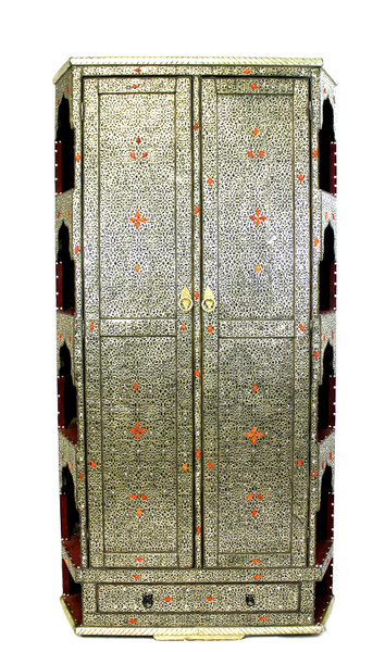 moroccan cabinet, moroccan armoire, moroccan home decor, metal furniture, large cabinet, cabinet, high-end furniture, luxe furniture, metal furniture, silver furniture, moroccan dresser, moroccan wardrobe, silver dresser, wardrobe, large cabinet with shelves