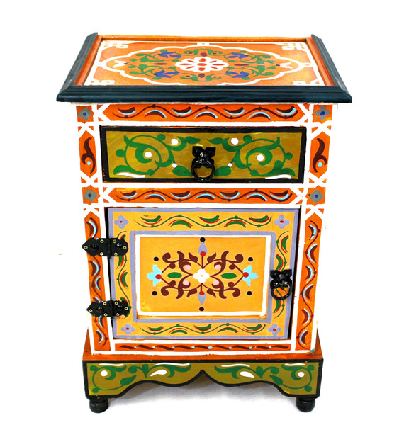 moroccan nightstand, moroccan cabinet, moroccan home decor, painted cabinet, small cabinet, nightstand, high-end furniture, luxe furniture, painted furniture, moroccan furniture, moroccan side table, moroccan nightstand orange, painted small cabinet, painted nighstand, small painted cabinet, orange cabinet, traditional moroccan furniture, orange nightstand, fancy nightstand, fancy small cabinet, orange fancy cabinet,