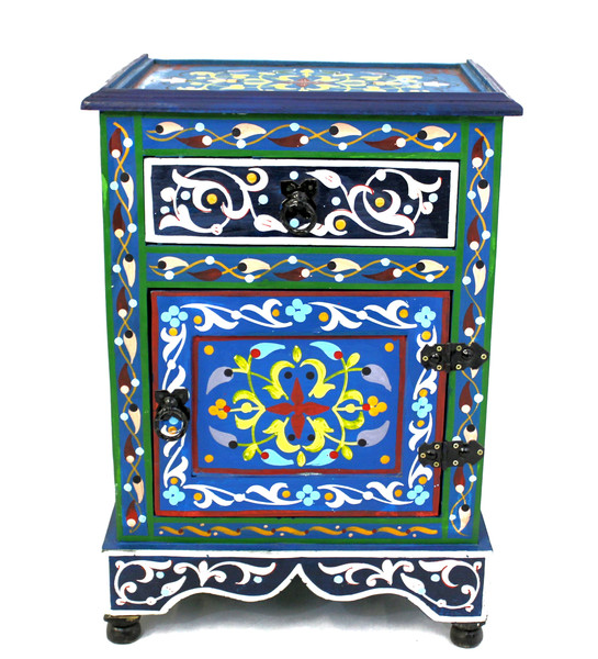 moroccan nightstand, moroccan cabinet, moroccan home decor, painted cabinet, small cabinet, nightstand, high-end furniture, luxe furniture, painted furniture, moroccan furniture, moroccan side table, moroccan nightstand blue, painted small cabinet, painted nighstand, small painted cabinet, blue cabinet, traditional moroccan furniture, blue nightstand, fancy nightstand, fancy small cabinet, blue fancy cabinet, moroccan nightstand blue, nightstand blue