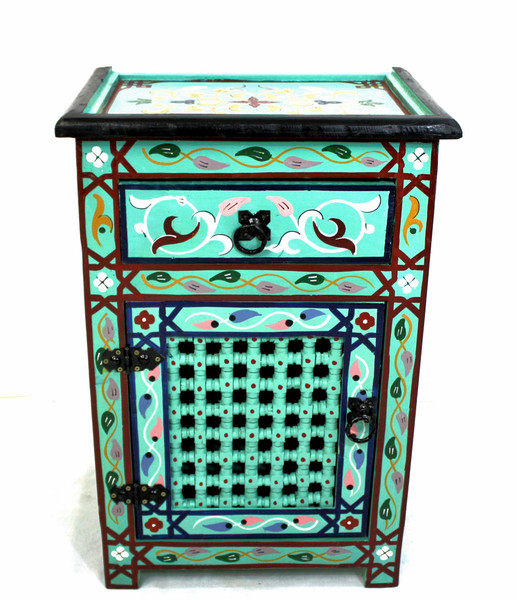 moroccan nightstand, moroccan cabinet, moroccan home decor, painted cabinet, small cabinet, nightstand, high-end furniture, luxe furniture, painted furniture, moroccan furniture, moroccan side table, moroccan nightstand turquoise, painted small cabinet, painted nighstand, small painted cabinet, Turquoise cabinet, traditional moroccan furniture, Turquoise nightstand, fancy nightstand, fancy small cabinet, Turquoise fancy cabinet, moroccan nightstand Turquoise, nightstand Turquoise, blue nightstand, nightstand blue