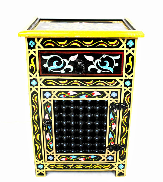 moroccan nightstand, moroccan cabinet, moroccan home decor, painted cabinet, small cabinet, nightstand, high-end furniture, luxe furniture, painted furniture, moroccan furniture, moroccan side table, moroccan nightstand black, painted small cabinet, painted nighstand, small painted cabinet, black cabinet, traditional moroccan furniture, black nightstand, fancy nightstand, fancy small cabinet, black fancy cabinet, moroccan nightstand black, nightstand black, moucharabi nightstand, nightstand moucharabi, moucharabieh
