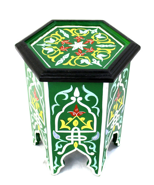 moroccan side table, moroccan furniture, moroccan table, high-end furniture, moroccan home decor, exclusive furniture, handmade furniture, side table, green corner table, moroccan design, moroccan style, moroccan home decor, end table, accent table, moroccan painted table, side table green, side table,  painted table, side table painted, side table with design, side table with pained design, hexagon table, painted green table