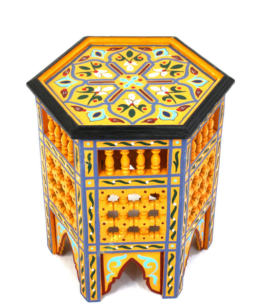moroccan side table, moroccan furniture, moroccan table, high-end furniture, moroccan home decor, exclusive furniture, handmade furniture, side table, orange corner table, moroccan design, moroccan style, moroccan home decor, end table, accent table, moroccan painted table, side table orange, side table,  painted table, side table painted, side table with design, side table with pained design, hexagon table, painted orange table, moucharabi table, moroccan moucharani table, moucharabie table, orange, moucharabi table orange