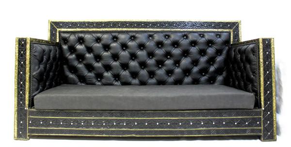 couch, sofa, black sofa, leather couch, handmade furniture, moroccan furniture, moroccan home decor, moroccan home design, moroccan room, black furniture, sofa black leather, high end furniture, luxury furniture, black and gold furniture,