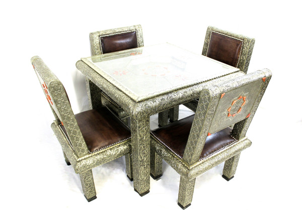 moroccan dining table, moroccan center piece, center piece, moroccan furniture, moroccan table, high-end furniture, moroccan home decor, centerpiece, moroccan centerpiece, handmade furniture, exclusive furniture, silver table, dining table, table with chairs, silver furniture, leather chairs, chairs, moroccan chairs, moroccan dining set, table and chairs, table with chairs set, moroccan furniture set,