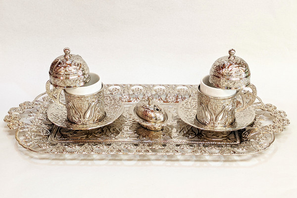 Turkish Coffee set for 2, silver color, includes 2 cups with lids, tea tray, sugar-bowl, traditional, turkish, coffee cups, cups with lids, coffee set, tea set, silver,
