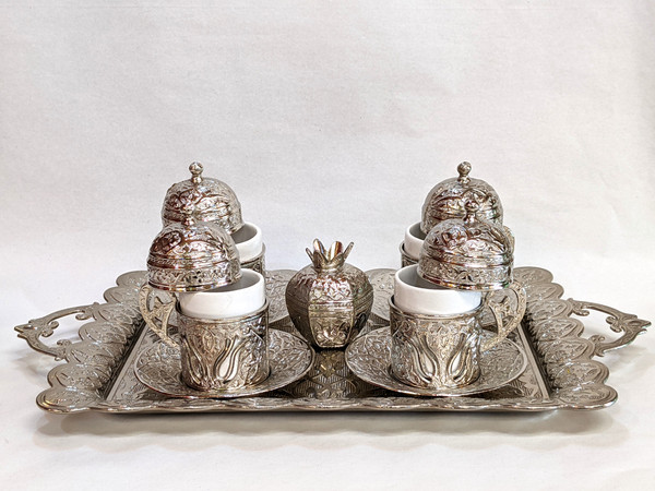 Turkish Coffee set for 4, silver color, includes 4 cups with lids and saucers, tea tray, sugar-bowl, traditional, turkish, coffee cups, cups with lids, coffee set, tea set, silver, saucer,