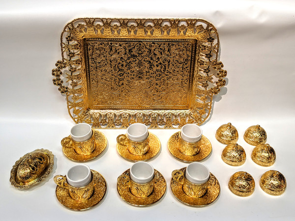 Turkish Coffee set for 6, gold color, includes 6 cups with lids and saucers, tea tray, sugar-bowl, traditional, turkish, coffee cups, cups with lids, coffee set, tea set, gold, saucer,
