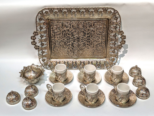 Turkish Coffee set for 6, silver color, includes 6 cups with lids and saucers, tea tray, sugar-bowl, traditional, turkish, coffee cups, cups with lids, coffee set, tea set, silver, saucer,
