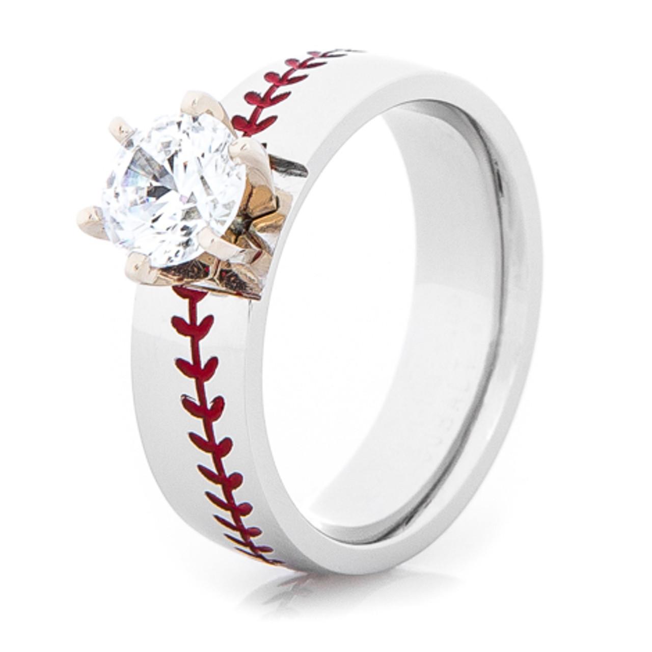 Womens Wedding Rings.Women S Cobalt Baseball Stitch Engagement Ring