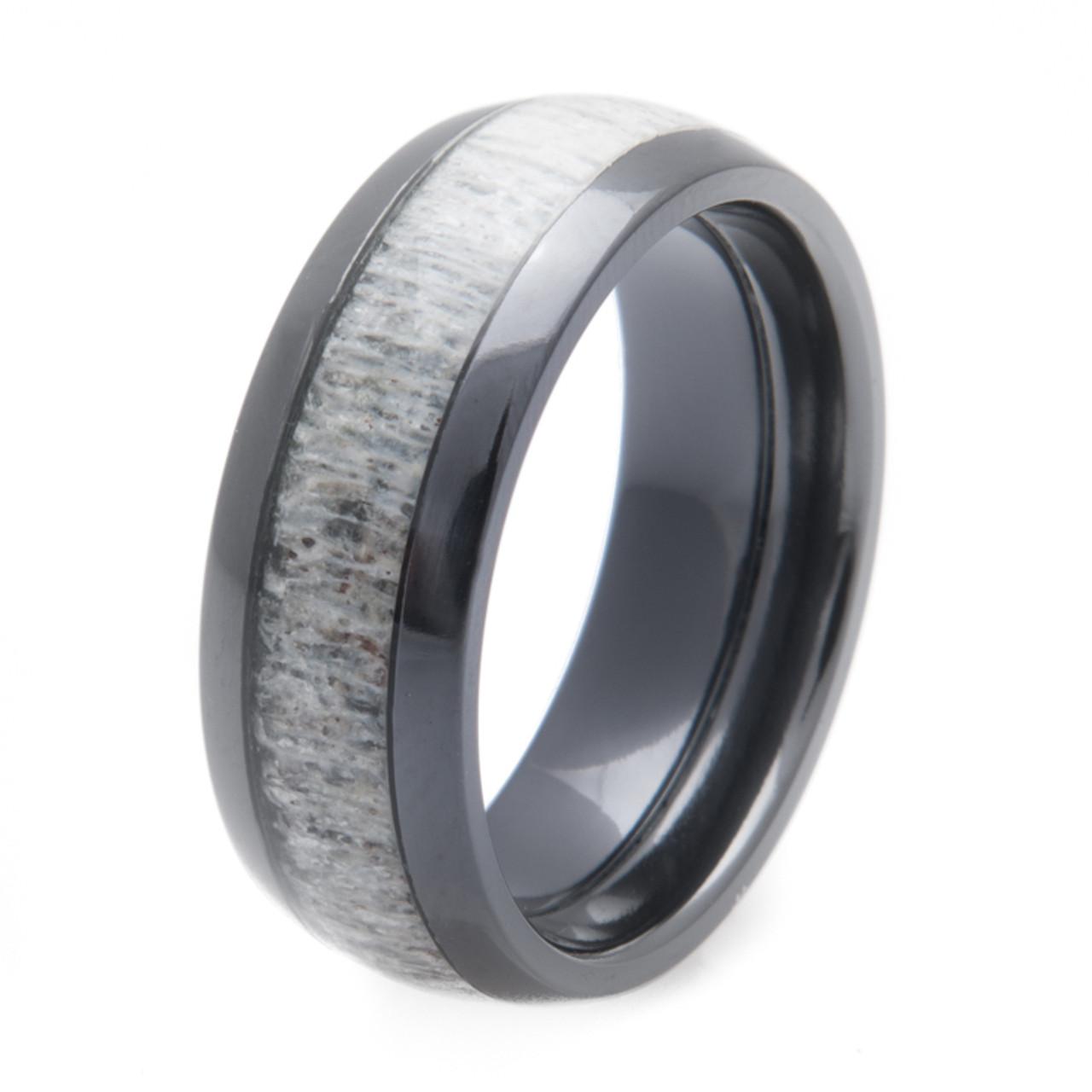 Antler Wedding Ring | Black Zirconium Deer Antler Inlay Ring Titanium Buzz