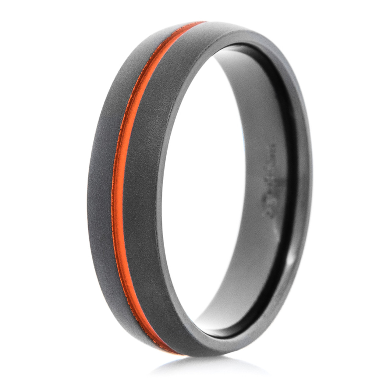 Black Wedding Bands.Men S Flat Black Wedding Band With Orange Inlay