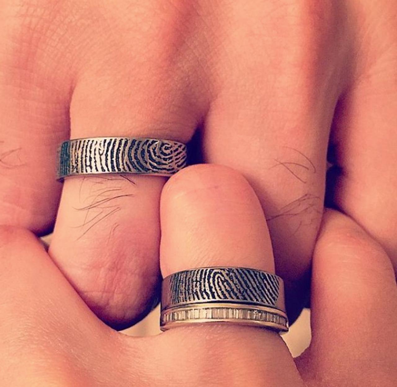 Fingerprint Wedding Ring Unique Titanium Rings More Titanium Buzz