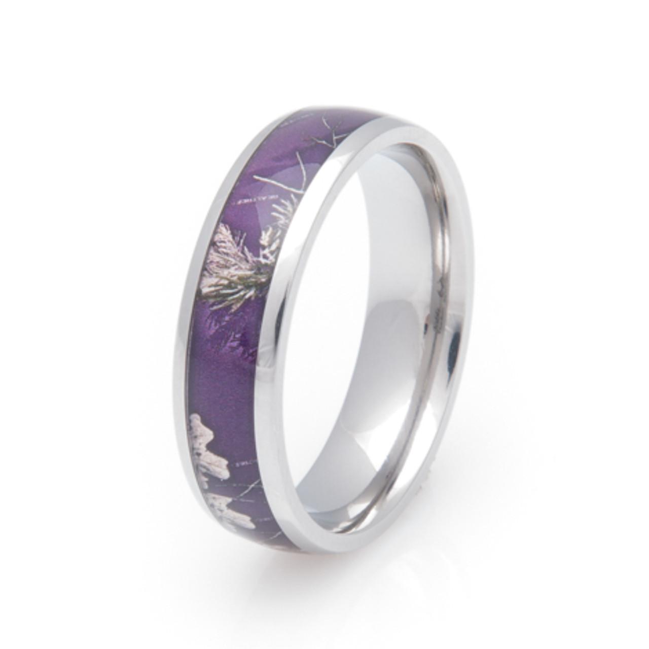 Women S Titanium Realtree Purple Camo Ring Titanium Buzz