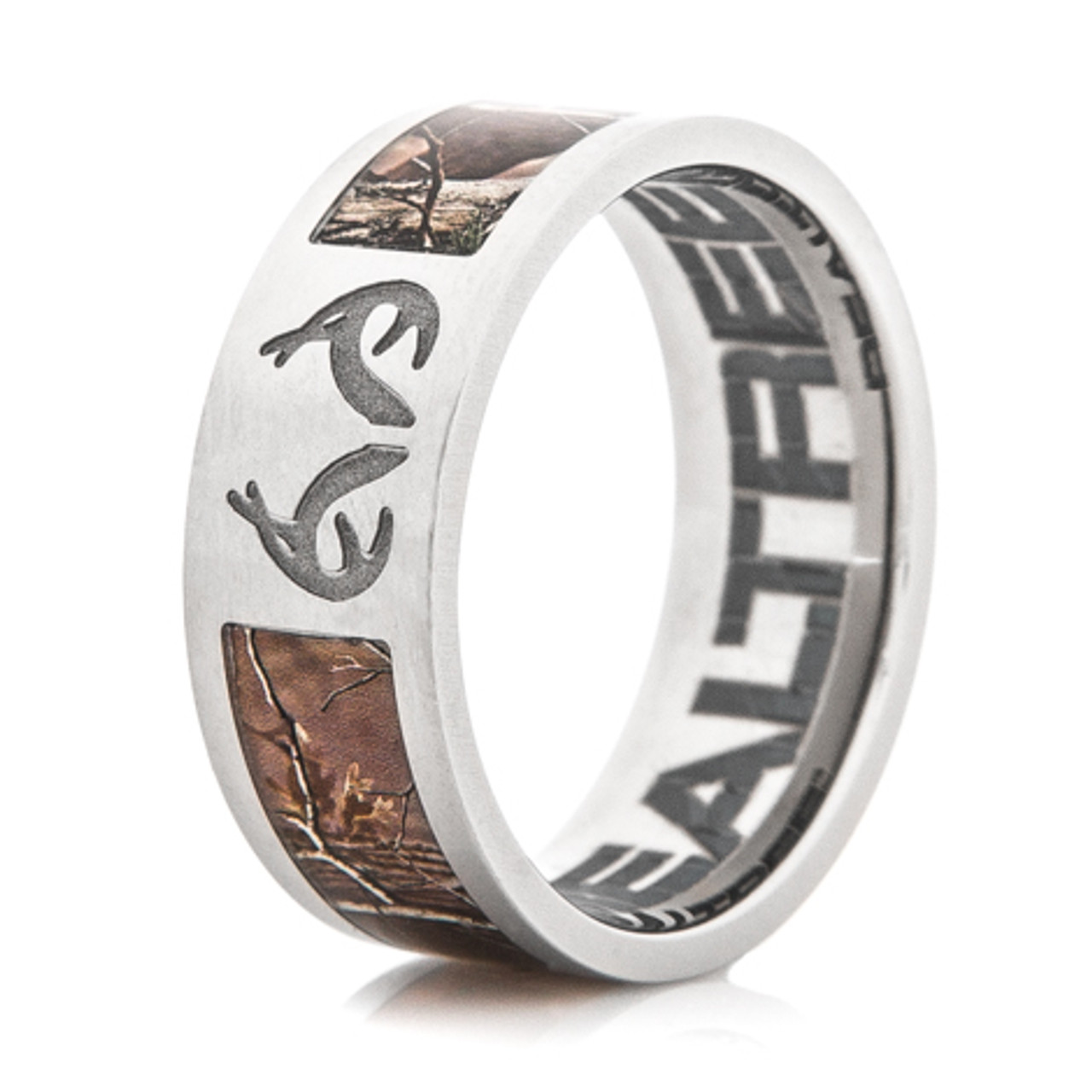 002a78d7bc650 Men's Titanium Realtree® Camo Ring with Engraved Antlers