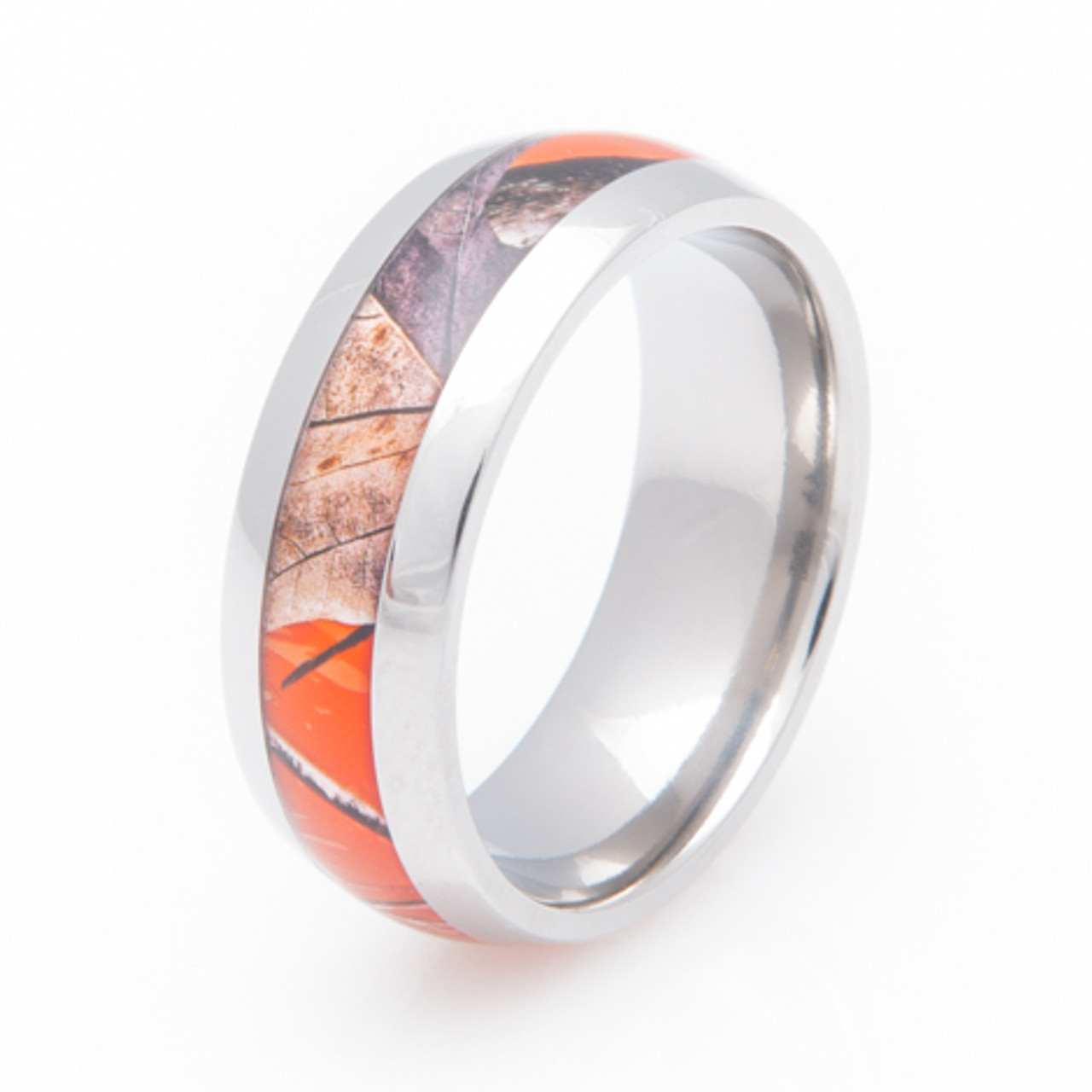 Official Licensed RealTree Pink Camouflage Titanium Rings Ladies Camo Bands
