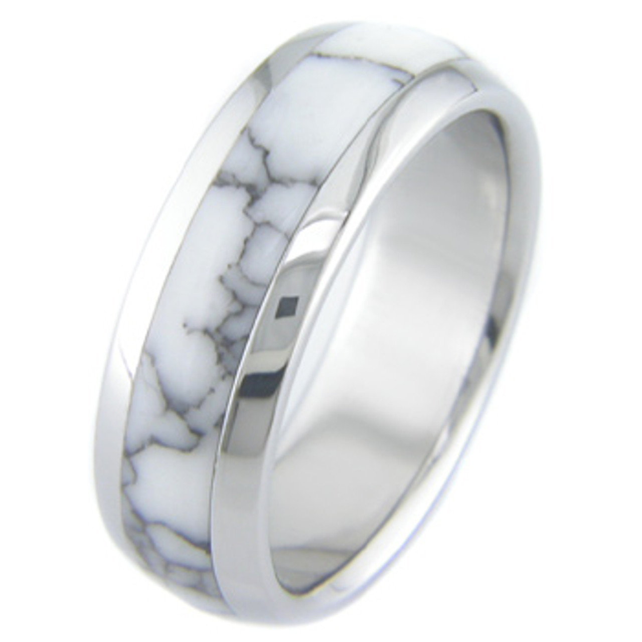 It is just a photo of Titanium and White Marble Ring