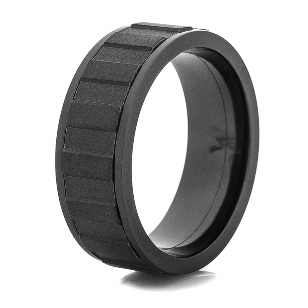 Matte Black Spinner Rings Black Spinner Wedding Ring Titanium Buzz
