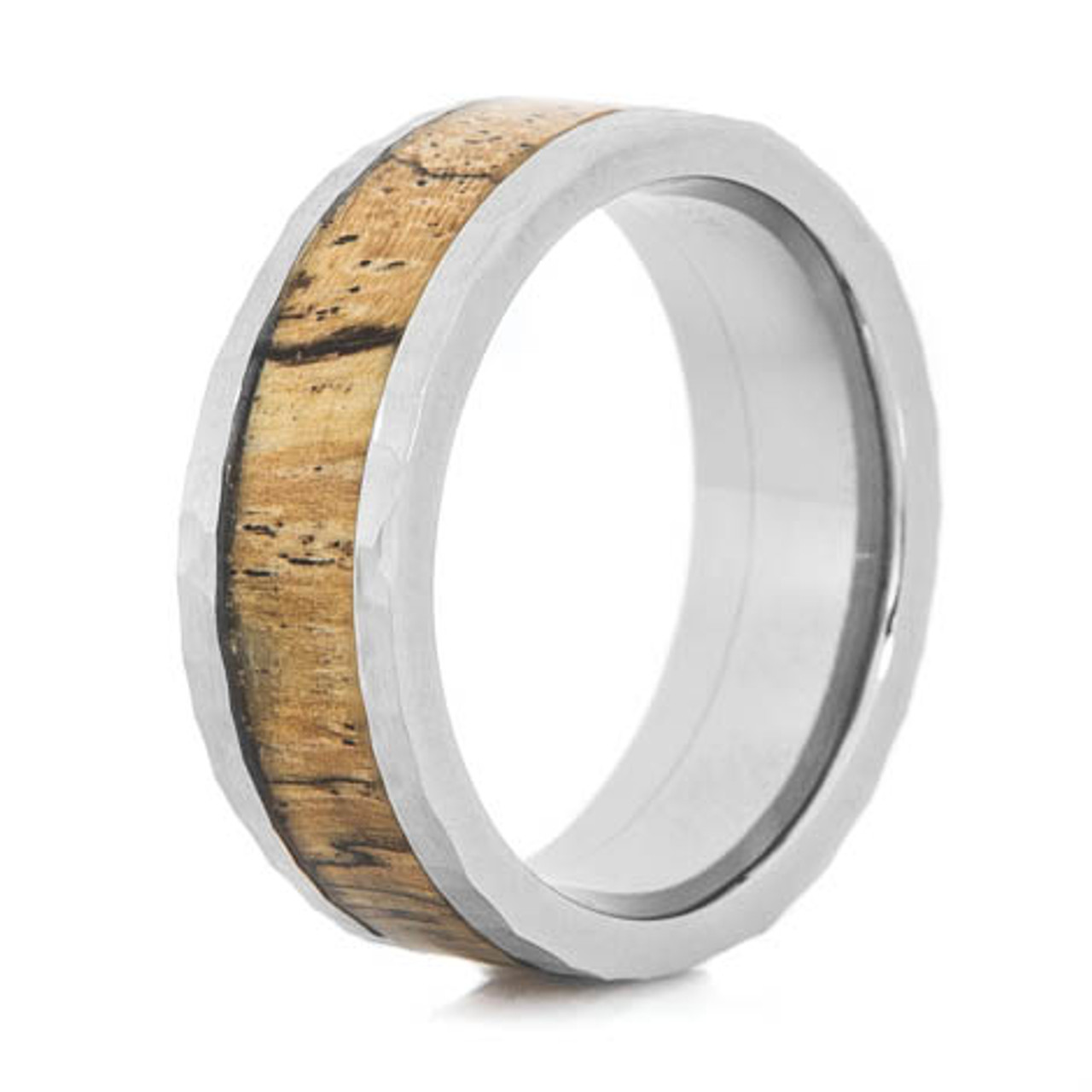 Wedding Band Everyday Ring Wood Ring for Men Wood Ring for Women Classic Wood Ring Spalted Tamarid wood and Stainless Steel Core ring