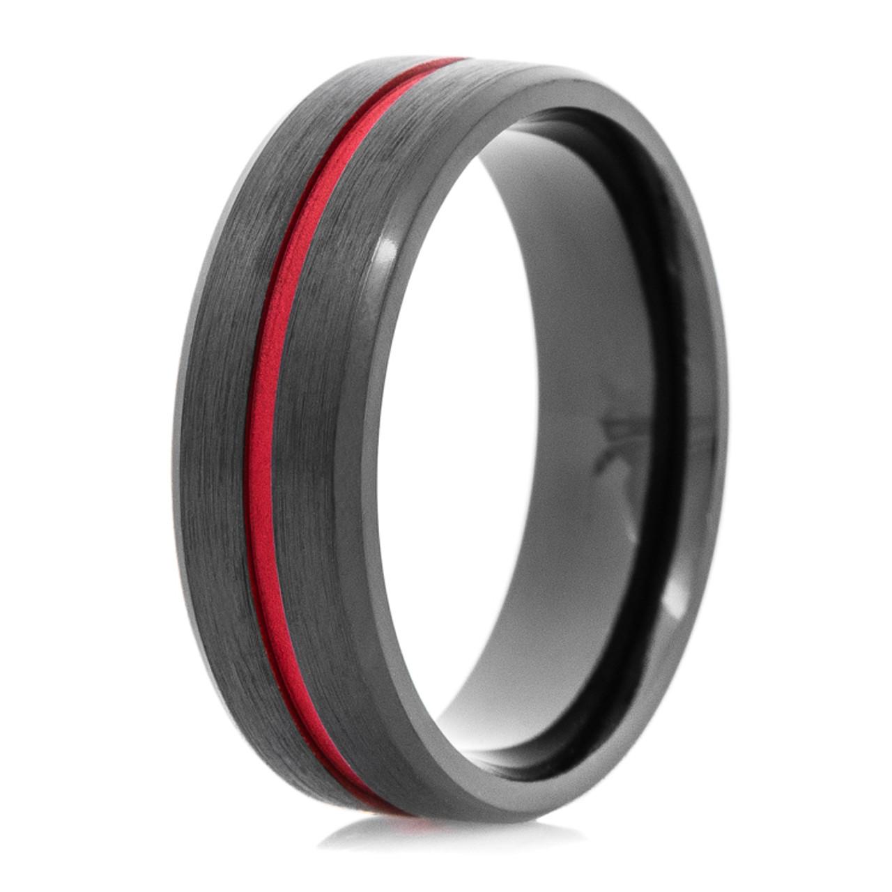 Mens Black Zirconium Thin Red Line Wedding Ring Custom Made
