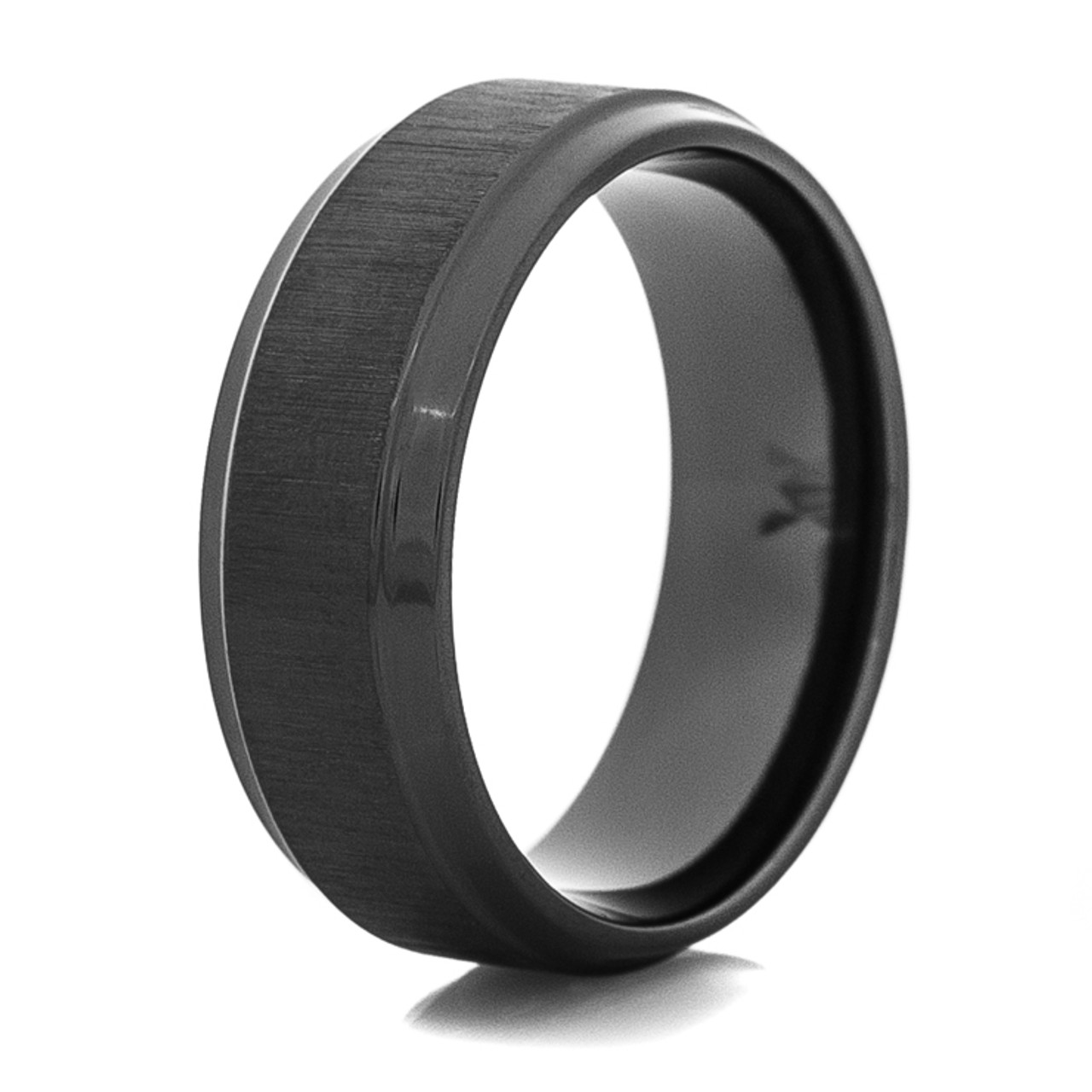 Mens Flat Profile Cross Satin Black Wedding Band