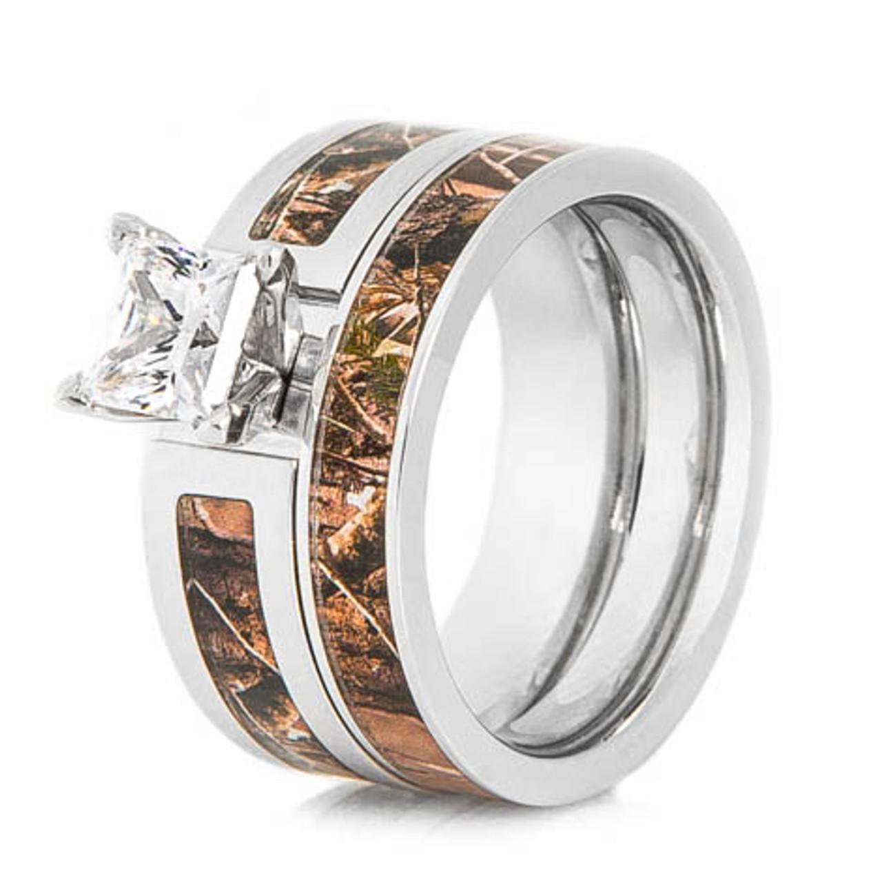 Wedding Ring Sets.Women S Cobalt Chrome Realtree Camo Wedding Ring Set