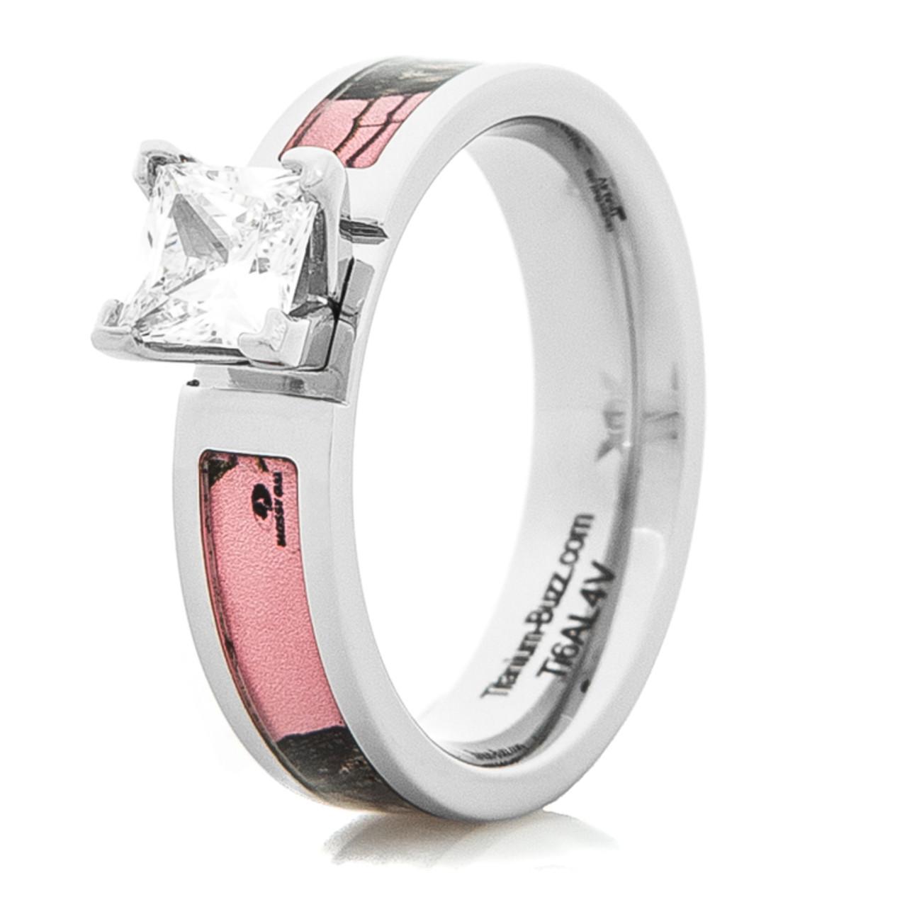 dbae4127a Cobalt Chrome Pink Mossy Oak Diamond Ring - Titanium-Buzz