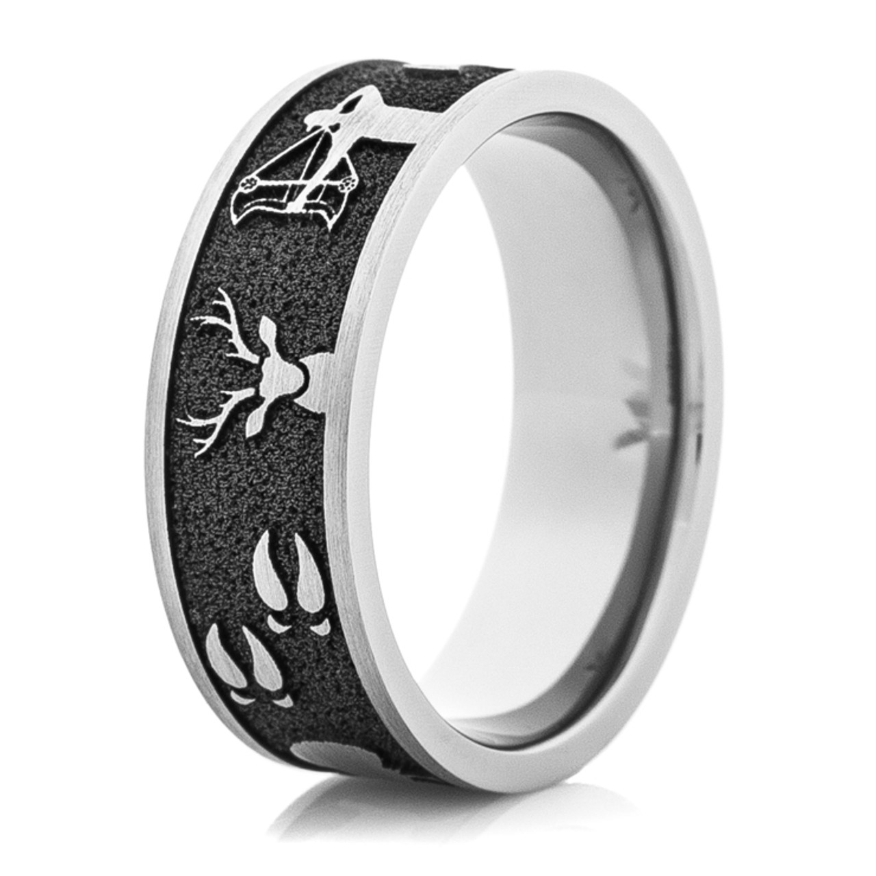 Mens Wedding Rings.Men S Laser Carved Titanium All Around Hunting Wedding Ring