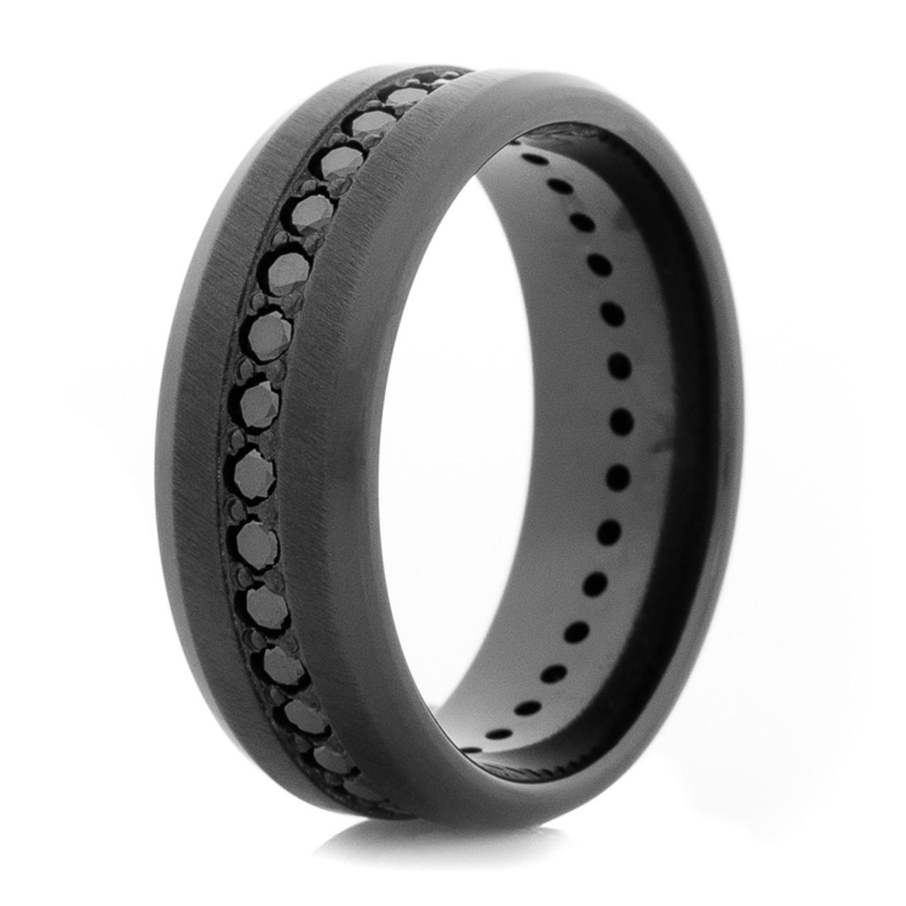 Men S Black Zirconium Black Diamond Eternity Ring Titanium Buzz