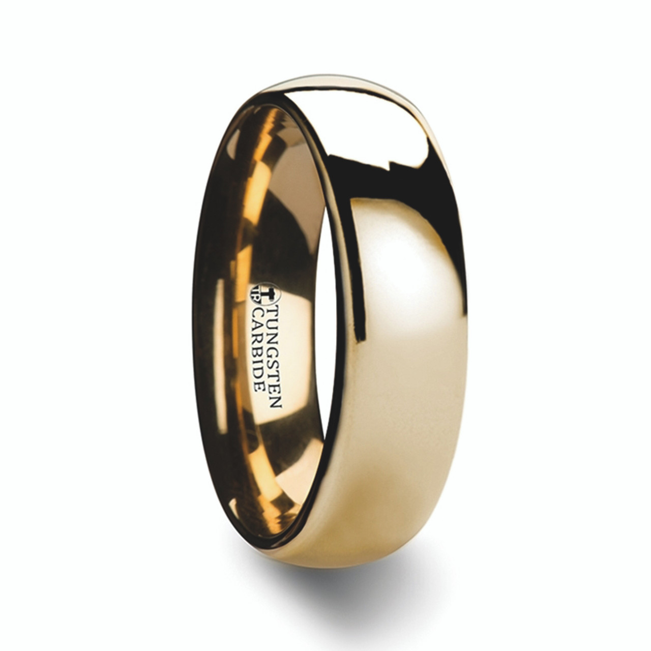 Tungsten Wedding Rings.Men S Dome Gold Plated Tungsten Wedding Ring