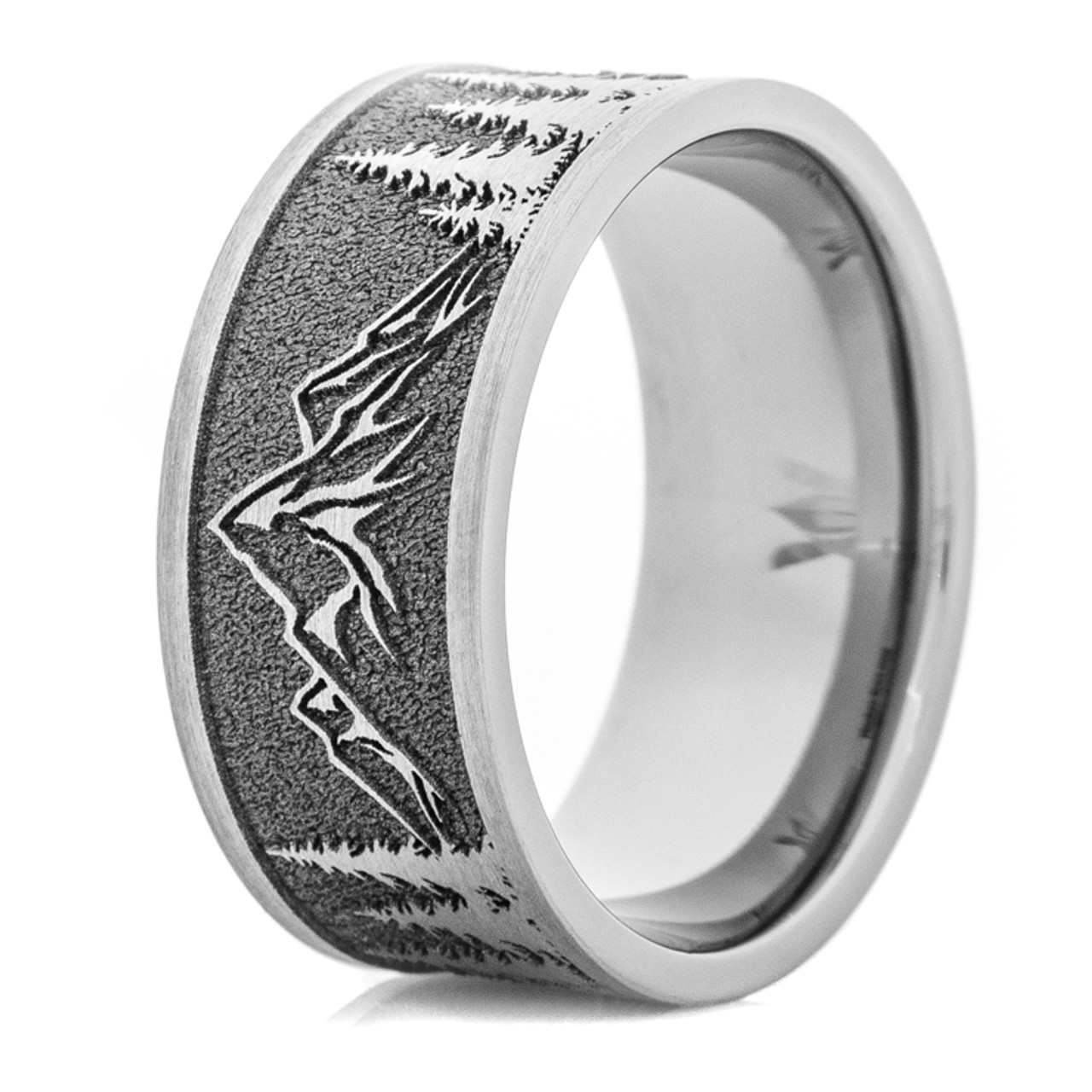 Mens Wedding Bands Titanium.Men S Laser Carved Titanium Mountain Range Wedding Band