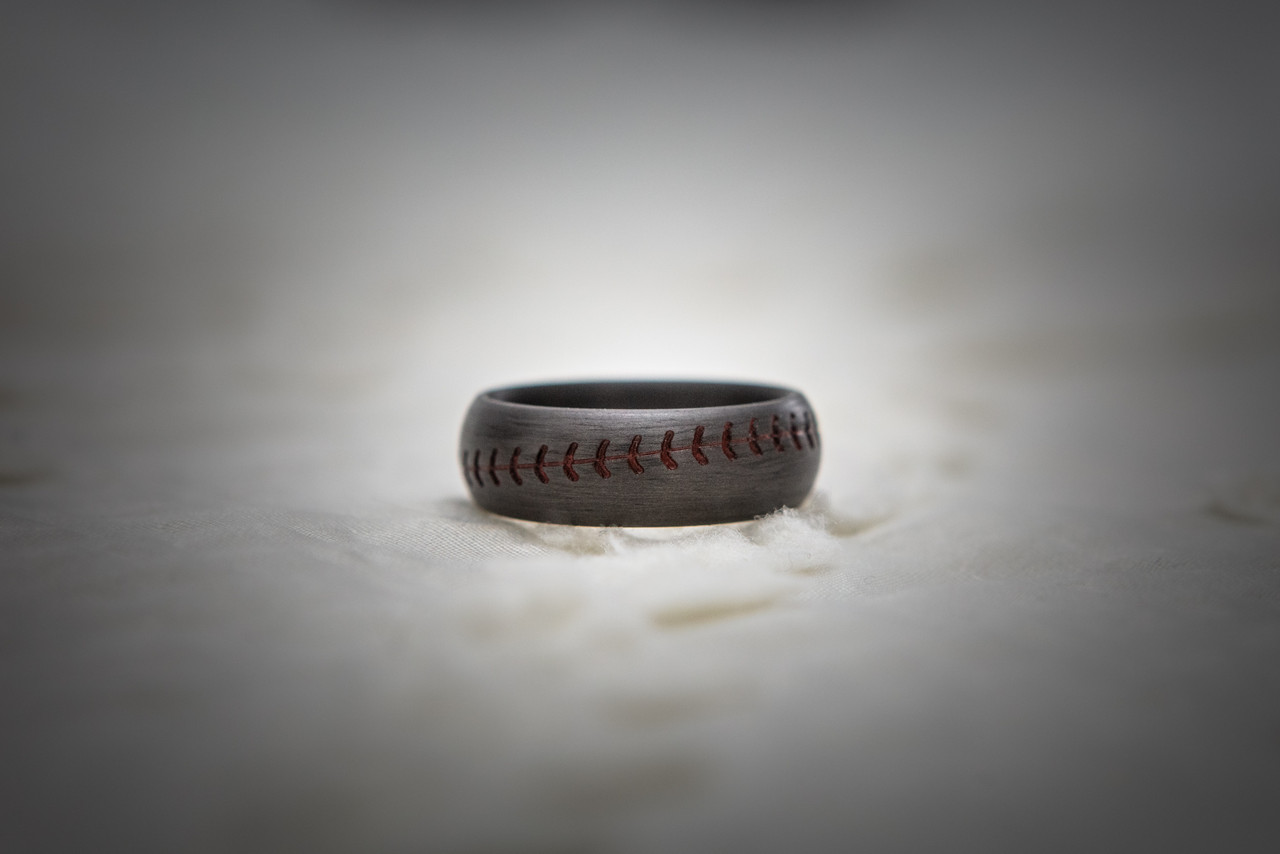 8mm Comfort Fit Titanium Baseball Ring with Red Stitching 8 Dome Profile