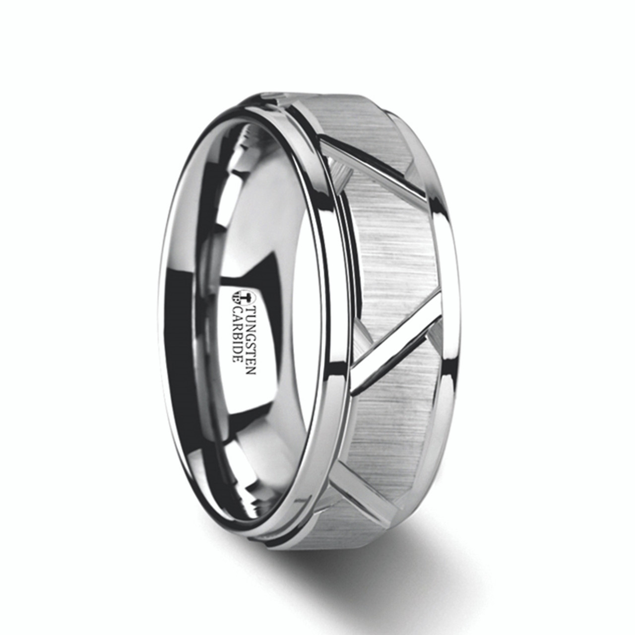 Mens Tungsten Wedding Bands.Men S Tungsten Ring With Angled Grooves And Raised Center