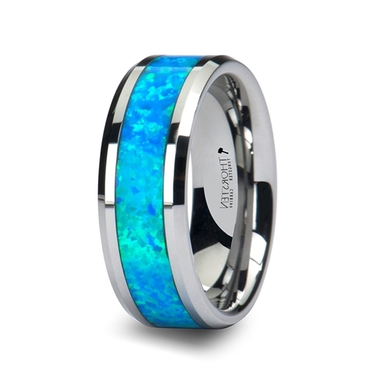 Men S Tungsten Wedding Band With Blue Green Opal Inlay Titanium Buzz