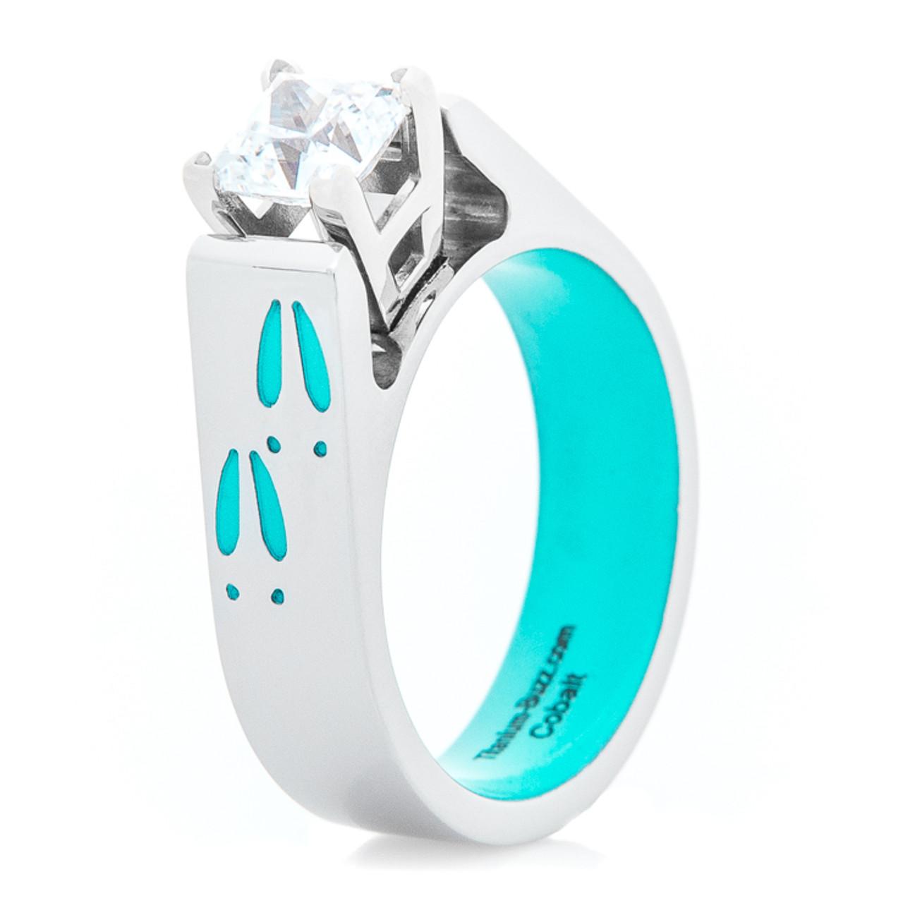 Women S Turquoise Deer Track Engagement Ring Titanium Buzz