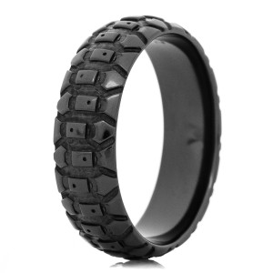 Men's Black Dirt Bike Tire Tread Ring