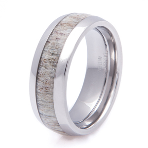 Men's Titanium Deer Antler Inlay Wedding Ring