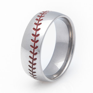Men's Titanium Baseball Wedding Ring with Color Stitching
