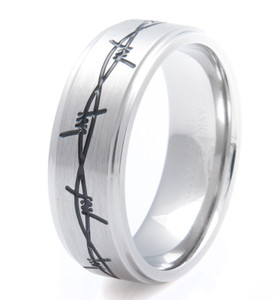 Men's Titanium Black Barbed Wire Band