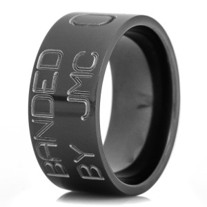Men's Black Zirconium Duck Band Wedding Ring