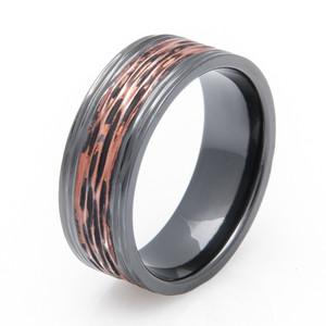 Black Zirconium Copper Ring with Tree Bark Finish