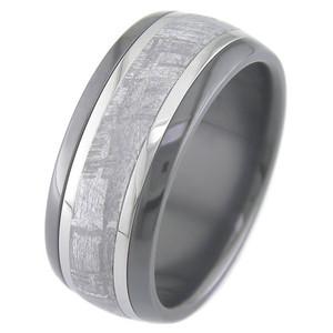 Men's Black Zirconium Meteorite Ring with Twin Titanium Inlays