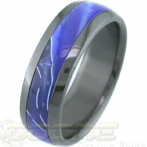 Black Zirconium Ring with Hawaii Blue Inlay