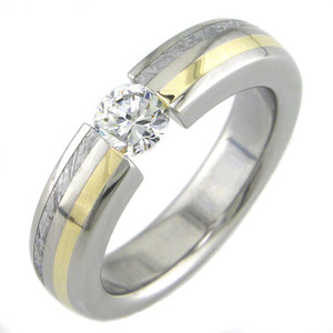 Women's Titanium Tension Set Ring with Meteorite and Gold Inlays