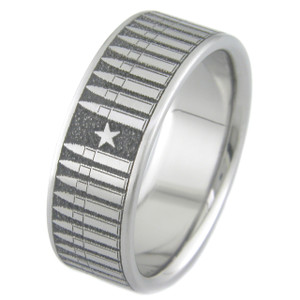Men's Laser-Carved Titanium Bullet Ring