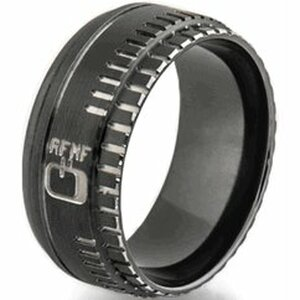 Men's Black Zirconium Camera Lens Ring