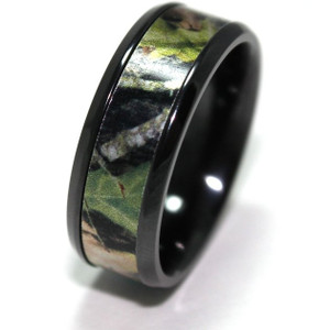Black Zirconium Mossy Oak Ring