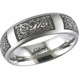Titanium Elaborate Celtic Dog Knot Ring